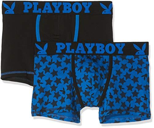 Playboy Herren Classic COOL Badehose, Mehrfarbig (schwarz/blau + blau Bedruckt Sterne Gwd), L (2er Pack)