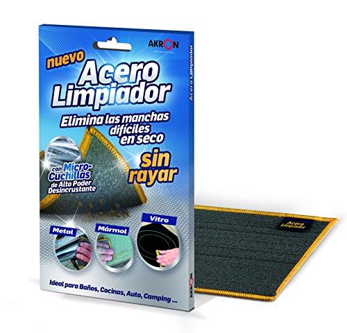 BARLESA Acero Limpiador INOX Elimina Las Manchas difíciles en seco sin rayar, Metal, marmol, vitro, aquarios, Estufas …, Ideal para baños, cocinas, Auto, Moto, Camping.