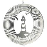 CIM Edelstahl Windspiel - Leuchtturm 180 - lichtreflektierend - Durchmesser: 18cm - inkl. Aufhängung - Gartenddeko Metall