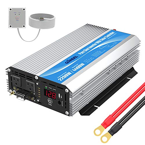 GIANDEL 2200W Pure Sine Wave Power Inverter Remote Control&LED Display, Dual AC Outlets &1x2.4A USB Port