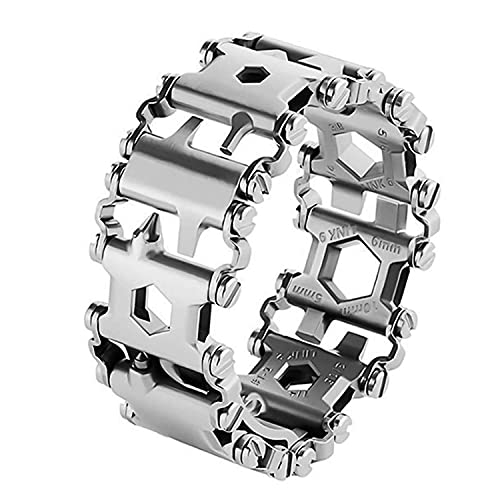 Multifunctional Tool Bracelet 29 In 1 Silver Friendly Glossy Bracelet Wristband Stainless Steel Wearable Bracelet Wearable Outdoor Survival Emergency Bracelets Suitable for Family, Camping, Hiking.