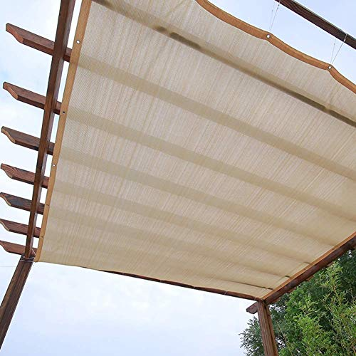 GUOOK Pergola Sun Shade Sunblock Patio Canopy, Beige Rectangle HDPE Permeable Cloth With Grommets, Sunblock & UV Resistant (Size : 3Mx4M)