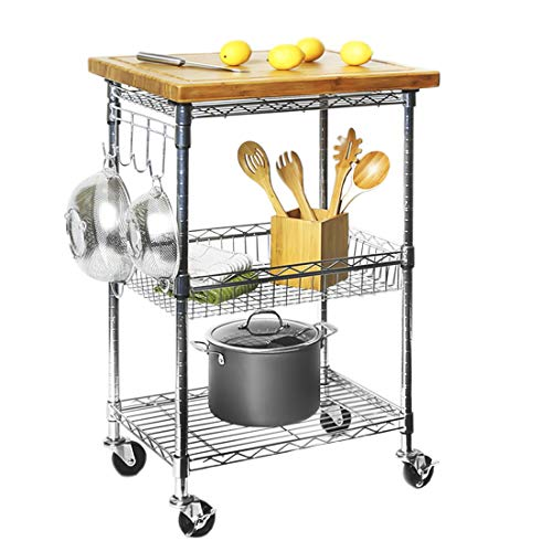 Seville Classics 3-Tier Solid Top Prep Table Kitchen Island Cart Storage, 24