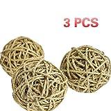 UEETEK Balls della corda della corda dell'erba della natura naturale tessuto a mano giocattoli di masticazione Piccoli giocattoli di animale dell'animale domestico-PACCHETTO DI 3