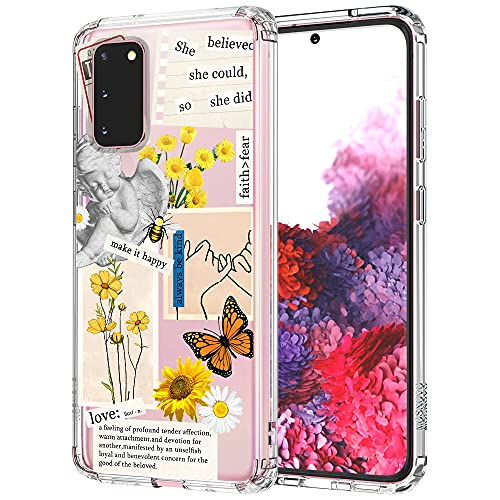 MOSNOVO Case for Samsung Galaxy S20, Vintage Collage Sunflower Butterfly Slim Clear Case Design with Shockproof TPU Bumper Protective Cover Case for Women Girls