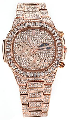 Hip Hop Ocio Multifuncional Impermeable Calendario Deportes Reloj Diseño Único Estilo Moda Relojes Para Hombres Y Para Mujeres, oro rosa, Talla única
