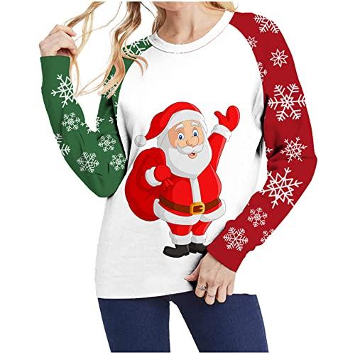 Ugly Christmas - Tops de otoño para mujer, divertidos, de manga larga, de moda, cómodos, blanco, S