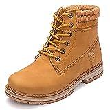 VTASQ Botas de Nieve Mujer Invierno Impermeables Comodos Cálido Zapatos Piel Forro Botines Cordones Antideslizante Aire Libre Boots Marrón 39