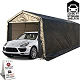 kdgarden 10' x 20' Heavy Duty Carport Portable Garage Enclosed Car Canopy Outdoor Instant Shelter Party Tent with Sidewalls for Auto and Boat Storage, Waterproof and UV-Treated, Khaki Peak Top Style