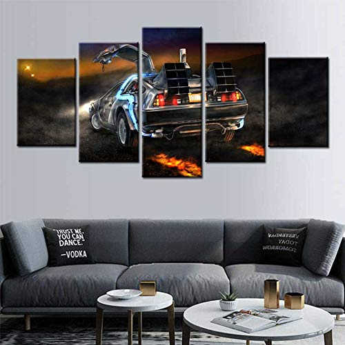 KWzEQ Zurück in die Zukunft Auto Leinwand 5 Brett Wandkunst Poster und Drucke modulare Wohnzimmer Dekoration,Rahmenlose Malerei,30x40cmx2, 30x60cmx2, 30x80cmx1