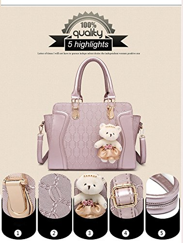 MORGLOVE New Fashion Women PU Leather Handbag Messenger Bag Shoulder Bag Tote Bag Bear Key Chain Card Purse in Gold (4 Pcs Set)