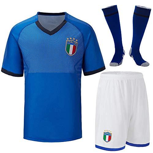Cytech Italia Maglia da Calcio, Bambino Adulto Maschio Italia Squadra Nazionale Calcio Maglia, T-Shirt Pantaloncini Calze (Bambino/20 (115-125cm))