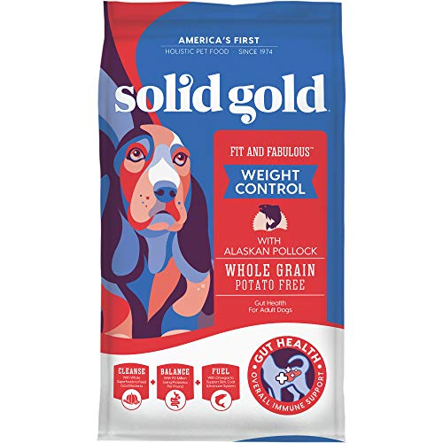 Solid Gold - Fit & Fabulous - Potato-Free Fresh Caught Wild Alaskan Pollock - Holistic Weight Control Adult Dry Dog Food - 4 lb Bag