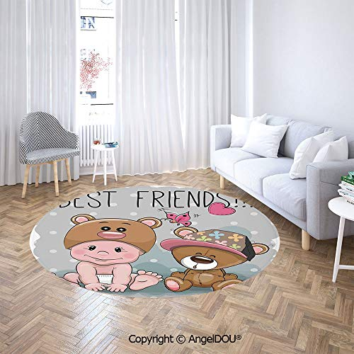 Homenon Area Rugs, Non-Slip Round Rug, Cute Cartoon Baby in a Bear Hat and a with Butterflies Best Print Washable Living Room Bedroom Carpet for Kids Playmat Nursery Rugs Dia. 4'(120cm)