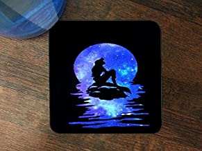 Popular Mermaid Purple Moon and Stars Print Silicone Drink Beverage Coaster 4 Pack