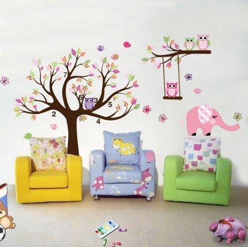 Rainbow Fox Liouliyo #6 Sticker Mural en Vinyle Motif Arbre de Cerisier en Fleur 140 x 200 cm