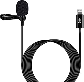 Professional Grade Lavalier Lapel Omnidirectional Phone Audio Video Recording Lavalier Condenser Microphone for iPhone X Xr Xs max 8 8plus 7 7plus 6 6s 6plus 5 / iPad(6m)