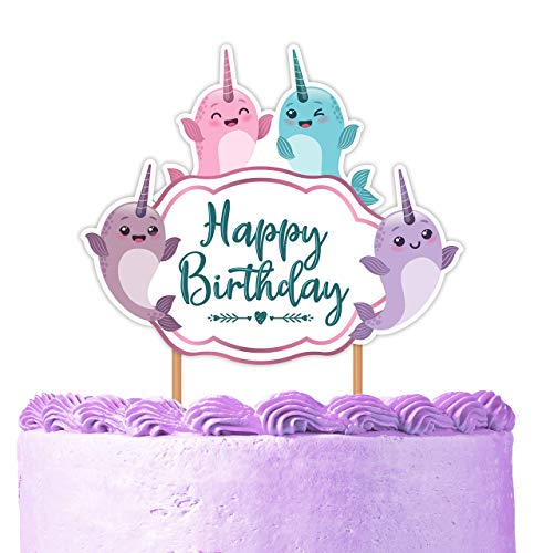 Narwhal Cake Topper - Narwhal Happy Birthday Party Decorations Supplies for Girls