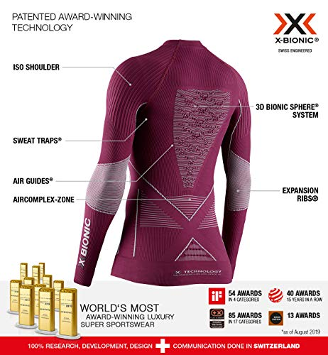 X-Bionic Damen Energy Accumulator 4.0 Shirt Round Neck Long Sleeves, Plum/Pearl Grey, XS - 2