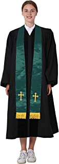 IvyRobes Unisex-adult's Satin Clergy Stole with Embroidery Cross 90