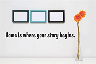 Decal – Vinyl Wall Sticker : Home is where your story begins. Quote Home Living Room Bedroom Decor - DISCOUNTED SALE ITEM - 22 Colors Available Size: 8 Inches X 40 Inches