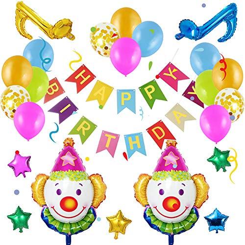 Towinle Geburtstagsdeko Set Happy Birthday Ballon Girlande Clown Luftballons Geburtstag Party Zubehör Geburtstag Dekoration für Mädchen Jungen Männer Frauen (Clown Set)