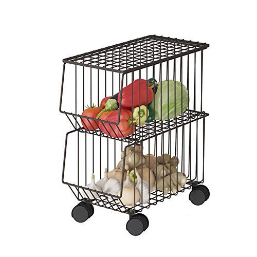 ZWW Aufbewahrungskorbwagen Für Gemüseobst, Mehrere Ebenen Arbeitsplatte Typ/Boden Stehend Organizer Rack Aus Edelstahl Mit Rädern - Küche/Bad,2 Layers