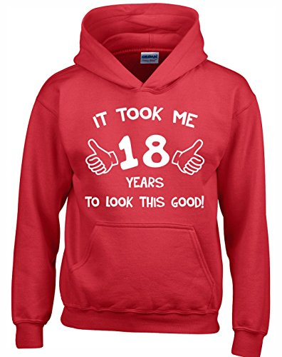 Crown Designs It Took Me 18 Years to Look This Good Lustig Geschenk Unisex Pullover Für Männer, Frauen Und Jugendliche (Rot/4X-Large)