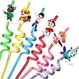 24 Paw Dog Patrol Straws with 2 Cleaning Brush 6 Designs Great for Birthday as Party Favors and Party Supplies