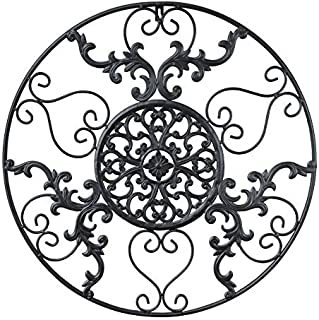 GB HOME COLLECTION Metal Wall Decor, Decorative Victorian Style Hanging Art, Steel Decor, Circular Medallion Design, 23.5 x 23.5 inches, Black Circle