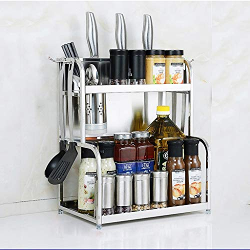 LXDDP Étagère Stockage autoportante, Support d'unité Stockage d'organisateur Stockage d'ustensile Cuisine d'épice Cuisine avec Le Crochet accrochants Supports à Couteau en Acier Inoxydable