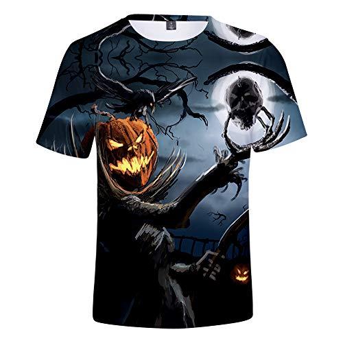 Mempire Halloween Camisetas para Hombres Linterna De Calabaza 3D Deprimido T Shirt Regalo De Día Tradicional