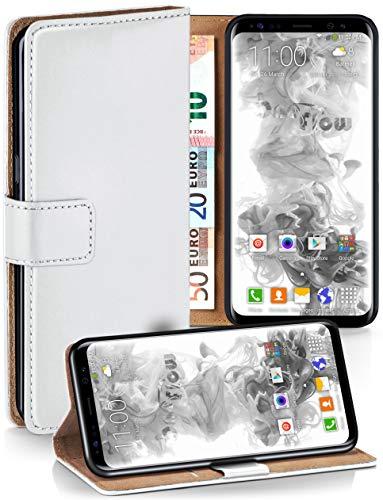 moex Premium Handytasche kompatibel mit Samsung Galaxy S8 - Klapphülle mit Kartenfach und Ständer, magnetische Handy Tasche - Flip Case Schutzhülle, Weiß
