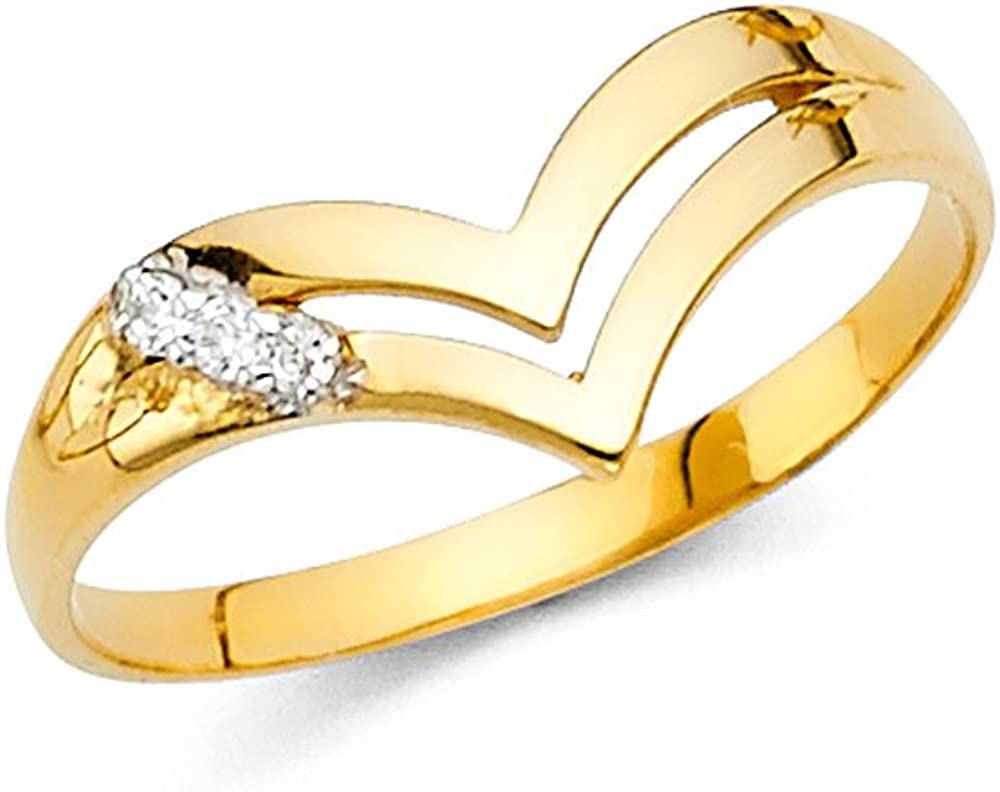 Jewels By Lux 14K Yellow Gold Cubic Zirconia CZ Fashion Anniversary Ring