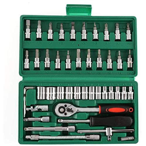 TOPofly Steckschlüsselsatz Ratschenschlüssel Quick Release Schlüssel Mechaniker Werkzeug Metric für Auto-Fahrrad Motor Reparatur 46PCS Praktische Werkzeuge