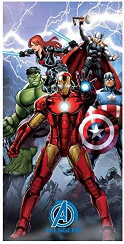 Toalla de playa de microfibra 140 x 70 cm, secado rápido, ultra suave (Avengers Superheroi Hulk Thor Iron Man)