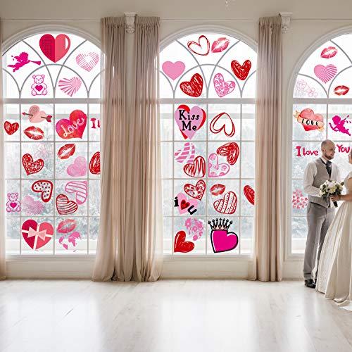 JoyPlay 144pza Adhesivos para Ventana del día de San Valentín Adhesivos Adhesivos para Ventana en Forma de corazón para el día de San Valentín Suministros de Fiesta de Bodas de cumpleaños