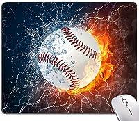 スポーツマウスパッド 火と水の中の野球 正方形 クールノンスリップゴムベース ゲーミングマウスパッド コンピュータ/ノートパソコン/オフィス用 9.5インチ×7.9インチ×0.12インチ(240mm×200mm×3mm)