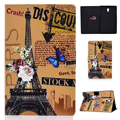 CaseFun Samsung Galaxy Tab A 105 2018 SM T590T595 Hulle Case PU Leder Tasche Magnetisch Schutzhulle Flip Cover mit Auto AufwachenSchlaf Standfunktion Schmetterling Eiffelturm