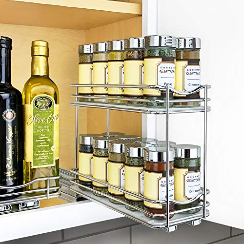 Lynk Professional Slide Out Double Spice Rack Upper Cabinet Organizer, 4-1/4
