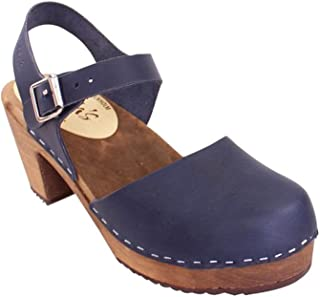 Lotta From Stockholm Swedish Clogs Highwood in Navy with Brown Sole