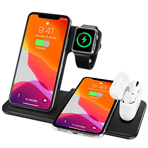 Wireless Charging Station,4 in 1 Wireless Charger Dock Compatible for iPhone 12/SE/11/11 Pro Max/XR/XS Max/Xs/X,Wireless Charger Stand for iWatch/Airpods Pro,for Samsung S20/S10/Note 20/10