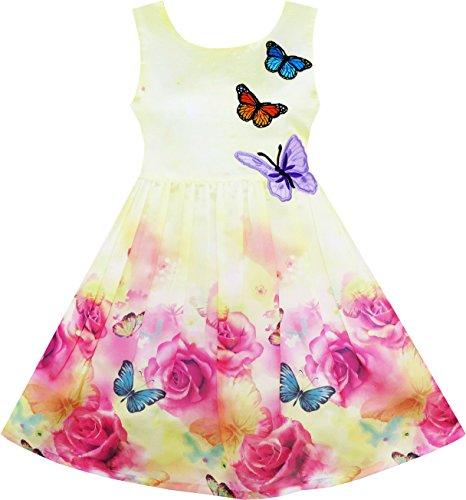 Sunny Fashion Mädchen Kleid Rose Drucken Schmetterling Stickerei Lila Gr. 110