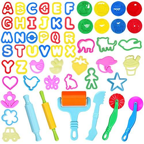 Faburo 57 Piezas Kit de Herramientas de Plastilina Inteligentes, Arcilla Plastilina Herramientas de Modelado con Moldes y Cortadores, Accesorios de Plástico para Masa para niños, Colores Aleatorios