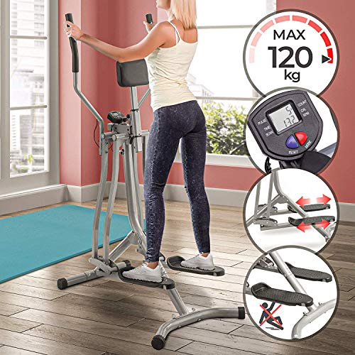 Nova Cross Trainer con pantalla LCD - Carga máxima de 120 kg - Sensor de frecuencia cardíaca y soporte abdominal - Material acero – Air Walker, Stepper con manillar