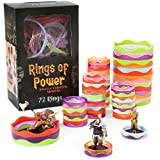 Rings of Power - Tabletop Condition Markers - RPG Board Game Accessories - Colorful Ring Set for HP, Effects, Damage, Spells, & Stats - for DND & More Strategy Games - 72 Pieces, Standard & Mini Size
