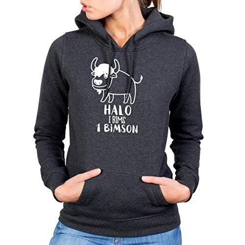 JUNIWORDS Damen Hoody - Halo i bims 1 Bimson - Wähle Größe & Farbe - Größe: S - Farbe: Anthrazit