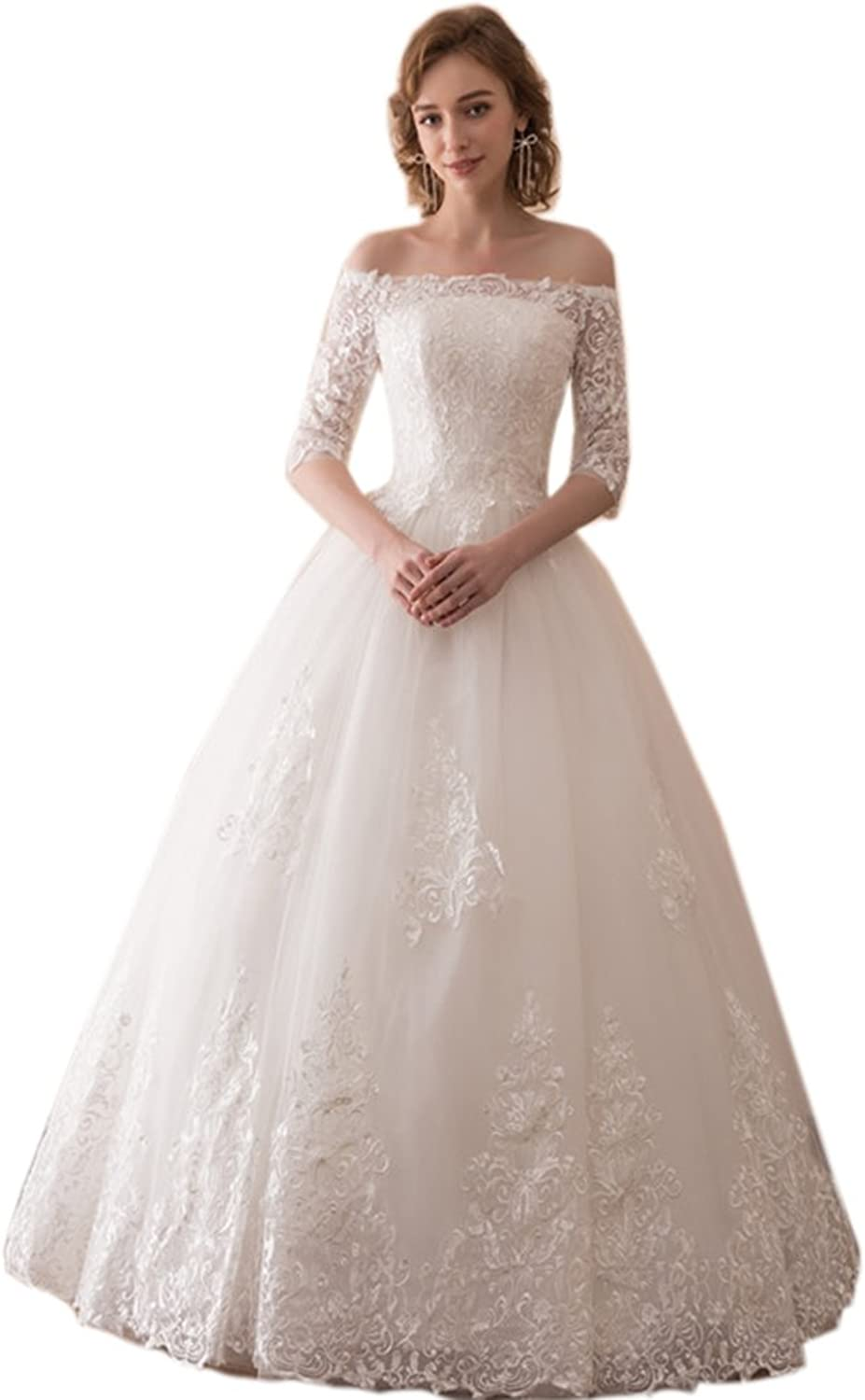 Engerla Women's Off The Shoulder Half Sleeves Tulle Ball Gown for Bride