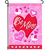 Joyousa Valentines Day Garden Flag - 12 x 18 Inches Double Sided - Artist Rendered & Weather Resistant - Love Heart Valentine Day Outdoor Yard Decor Small