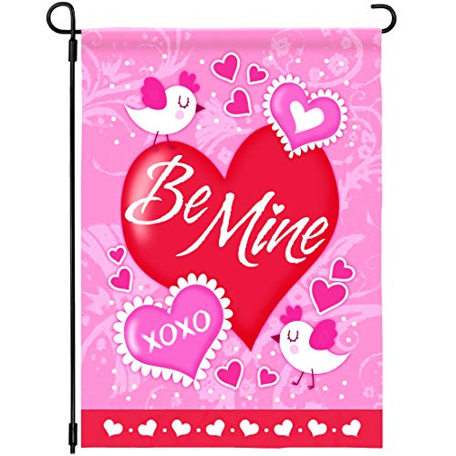 Joyousa Valentines Day Garden Flag - 12 x 18 Inches Double Sided - Artist Rendered & Weather...